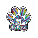 Wag Your Tail for Peace Tie Dye Dog Paw Magnet