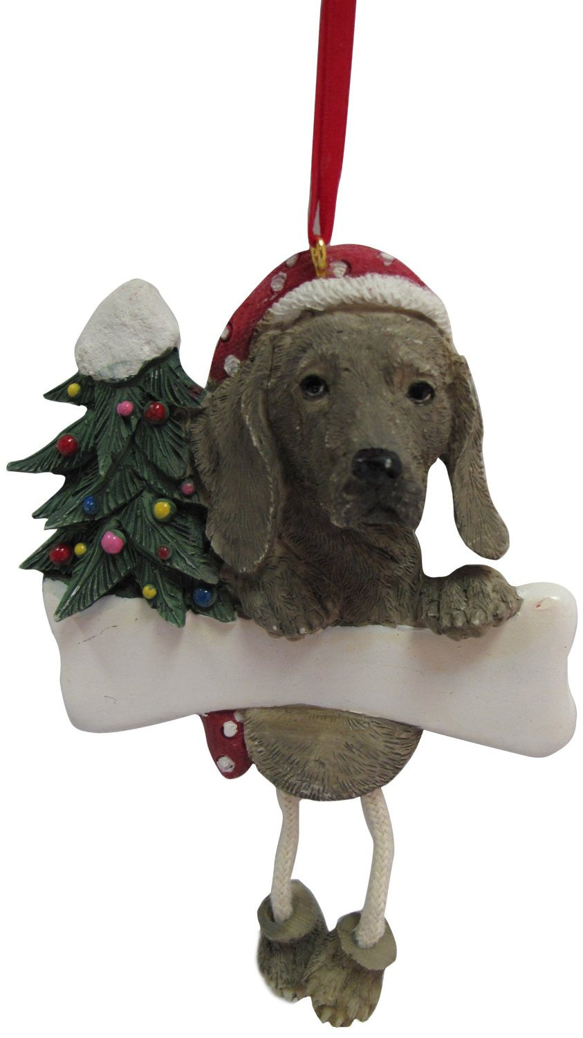 Dangling Leg Weimaraner Dog Christmas Ornament