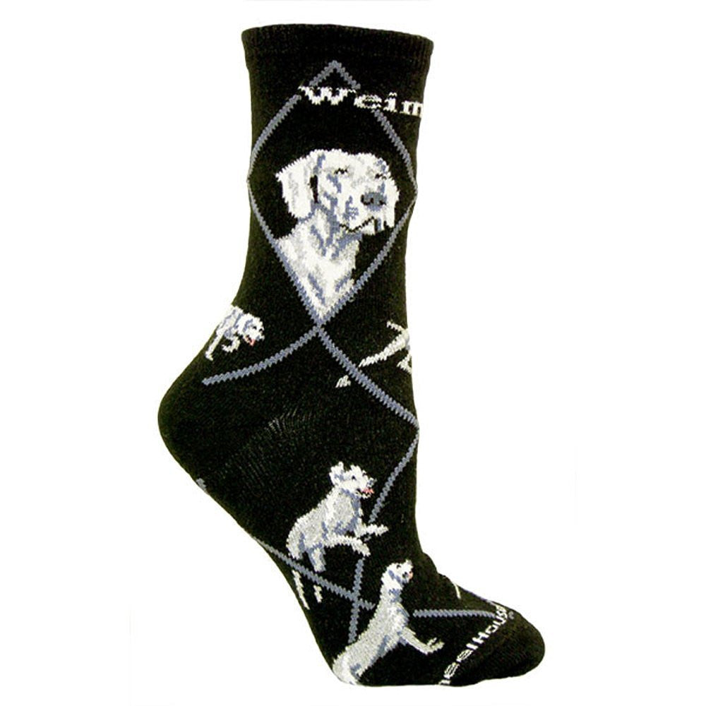 Weimaraner Dog Breed Novelty Socks Black
