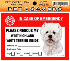 West Highland Terrier Westie Dog Emergency Window Cling