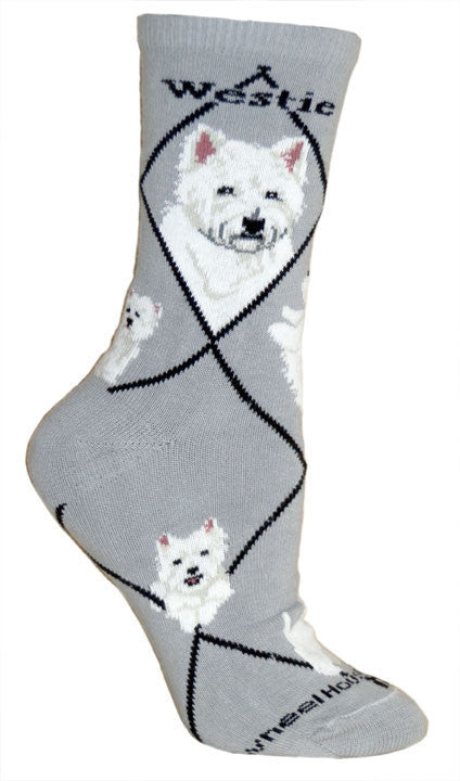 Westie Dog Breed Gray Lightweight Stretch Cotton Adult Novelty Socks