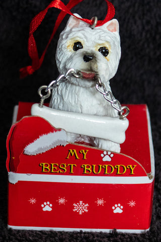 West Highland Terrier Westie Statue Best Buddy Christmas Ornament