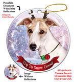 Whippet Tan Brindle Howliday Dog Christmas Ornament
