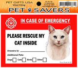 White Blue Eyed Cat Emergency Window Cling