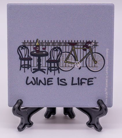 Wine Is Life Cycling Stone Drink Coaster