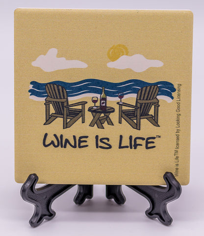 Wine Is Life Beach Stone Drink Coaster