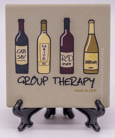 Wine Is Life Group Therapy Stone Drink Coaster