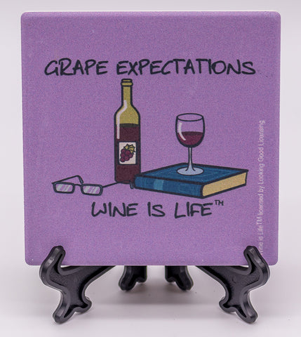 Wine Is Life Grape Expectations Stone Drink Coaster
