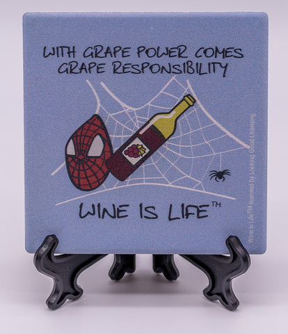 Wine Is Life With Grape Power Comes Grape Responsibility Stone Drink Coaster