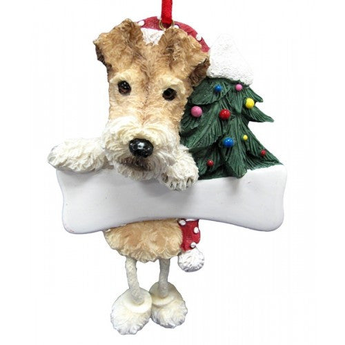 Dangling Leg Wire Fox Terrier Dog Christmas Ornament