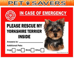 Yorkshire Terrier Yorkie Dog Emergency Window Cling
