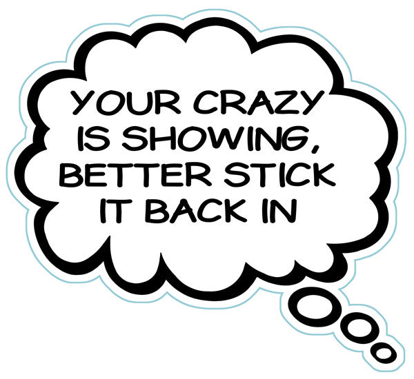 Your Crazy Is Showing Better Stick That Back In Brain Fart Car Magnet