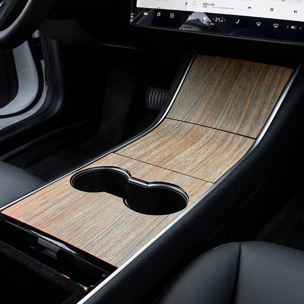Wood Grain Center Console Wrap - Model 3/Y