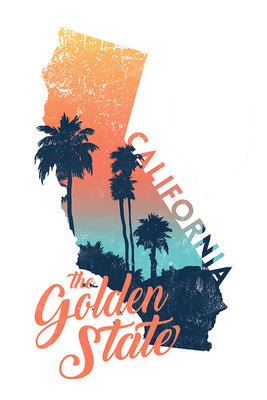 California - The Golden State Abstract Magnet