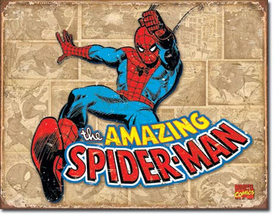 Spider-Man Retro Panels Tin Sign