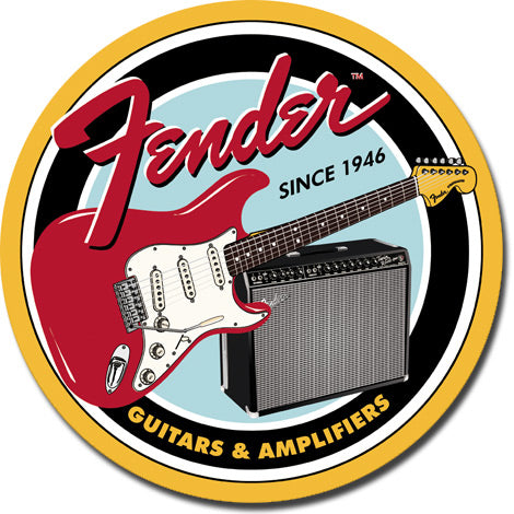 Fender G&A Round Tin Sign