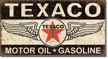 Texaco Winged Logo Tin Sign