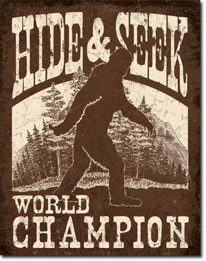 Bigfoot Hide & Seek Tin Sign