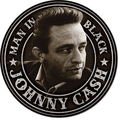 Cash - Man in Black Round Tin Sign