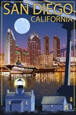 San Diego Skyline at Night Magnet