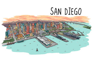 San Diego Line Drawing Magnet