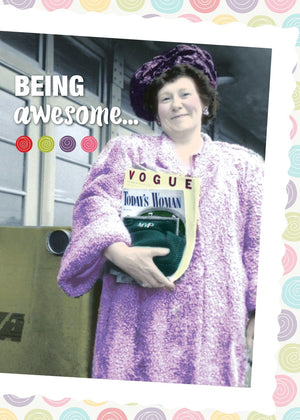 Being Awesome... - Die-Cut Birthday Card