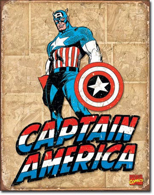 Captain America Retro Panels Tin Sign