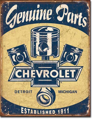 Chevy Parts and Pistons Tin Sign