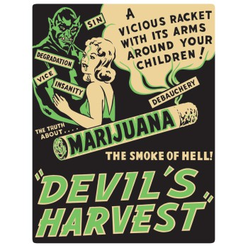 Devil's Harvest Embossed Sign