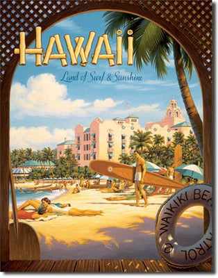Hawaii Sun and Surf Tin Sign