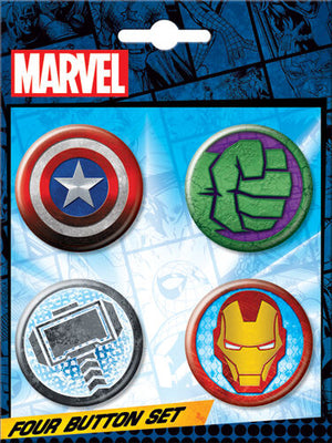 Avengers Icons 4 Button Set