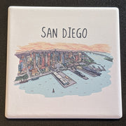 San Diego Line Drawing Coaster