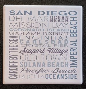 SD Green Typography Coaster