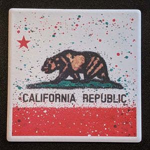California Splatter Flag Coaster