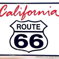 Route 66 Script on White License Plate