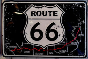 Route 66 Map & Shield Sign