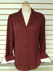 Button Up Blouse -- Wine
