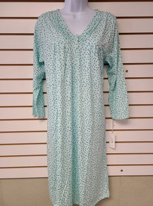 3/4 Sleeve Nightgown - Mint Floral