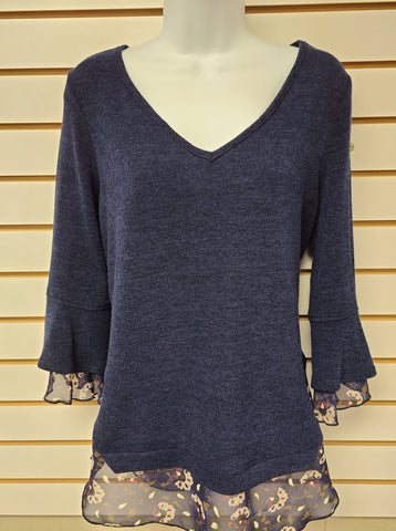 Navy Tunic with Bell Sleeve
