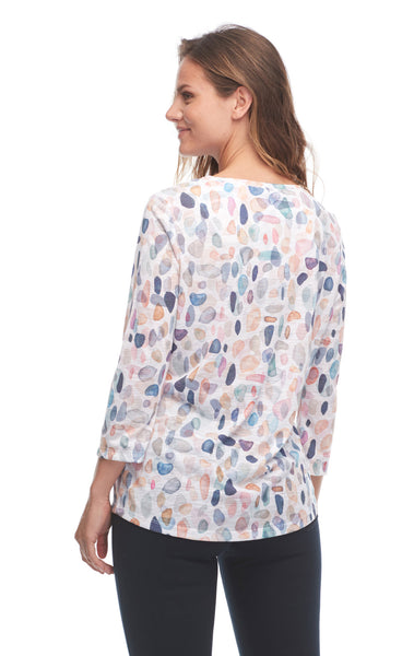 Seaside Pebbles Print 3/4 Sleeve Top