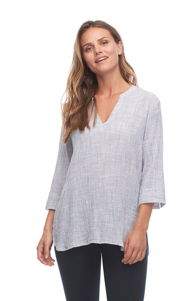 Crinkled Stripe Tunic Blouse with 3/4 Sleeves