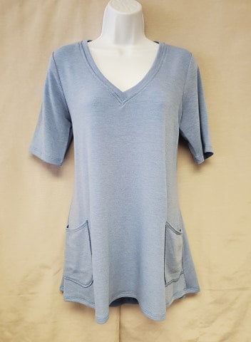 V-neck Tunic – Faded Denim Blue
