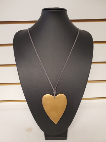Wooden Heart on Suede Cord - Gold