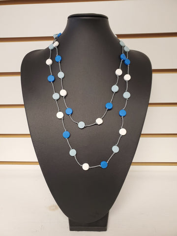 Beaded Long Necklace - Blue/White