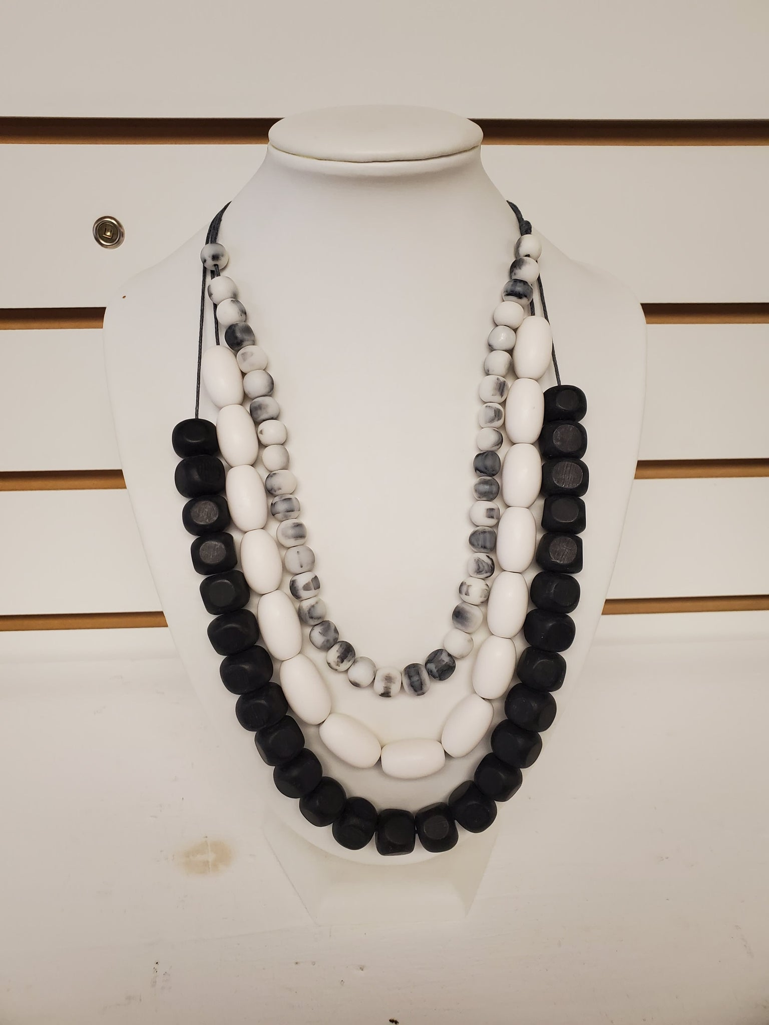Black/White Triple Strand Necklace