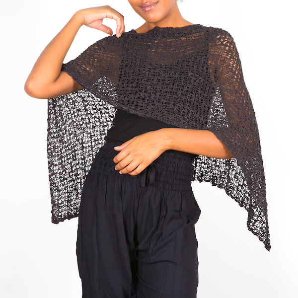Short Popcorn Knit Poncho - Multiple Colours Available