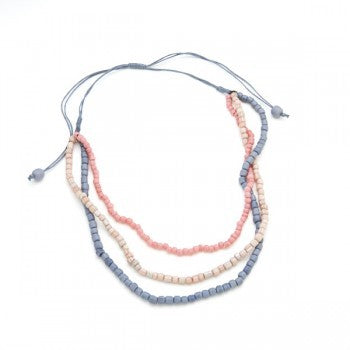 Triple Strand Glass Bead Necklace - Coral/Grey