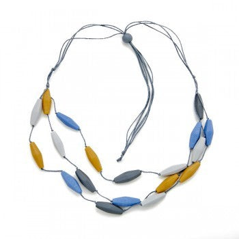 Triple Strand Resin Necklace - Mustard, Blue, & Grey