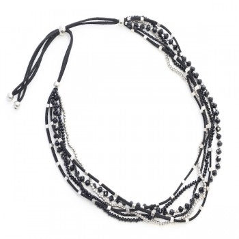 Multi-Stranded Suede and Bead Necklace - Black