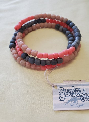 Glass Bead Bracelet - Coral/Grey